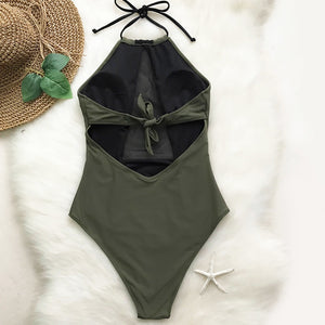 color block mesh insert swimsuit