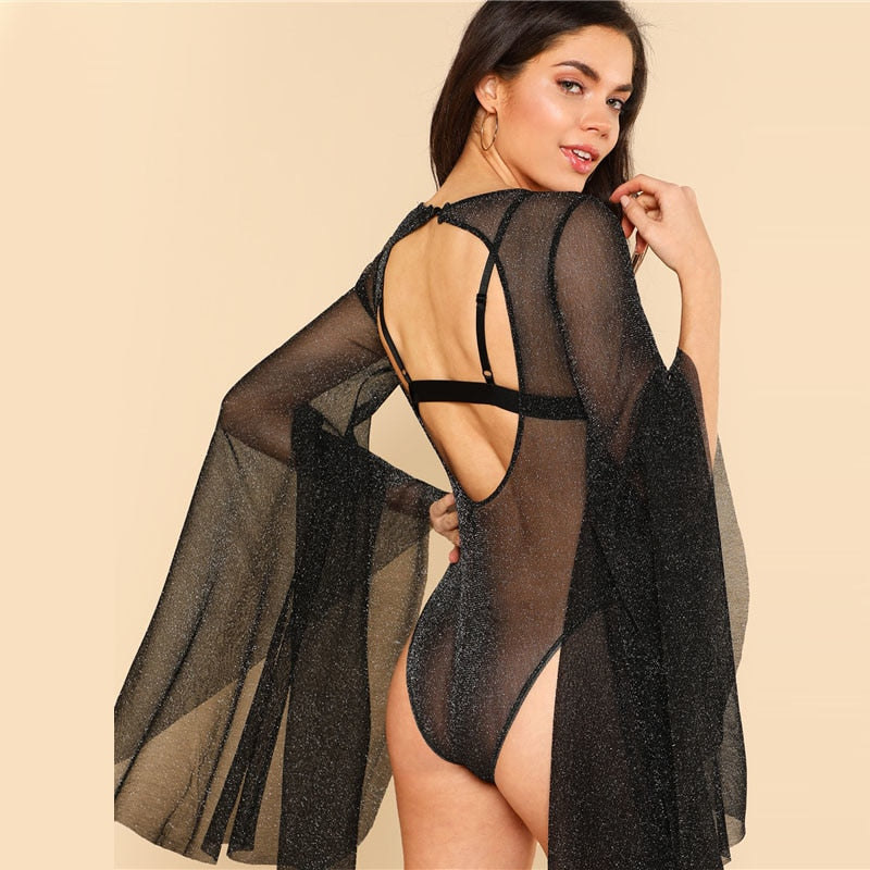 glitter mesh bodysuit with exaggerated bell sleeve