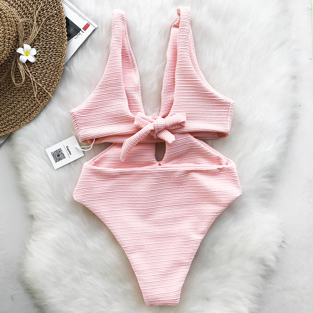 knot front swimsuit in pink-Bikini-VENERA CLUB