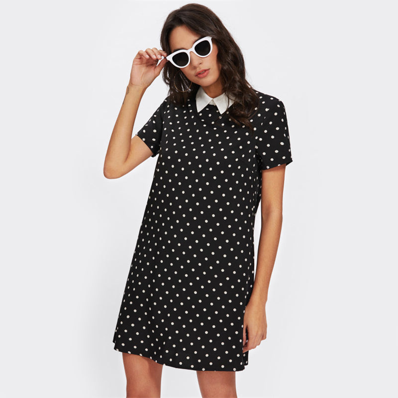 straight dress with contrast collar in polka dot