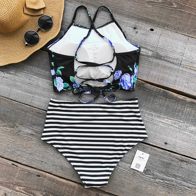 lace-up back bikini set in floral and stripe-Bikini-VENERA CLUB