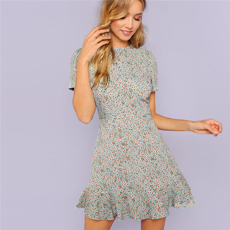 ruffle hem fit and flare dress in floral print