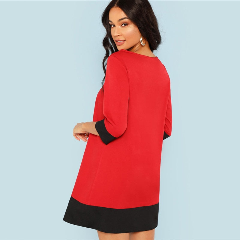 3/4 sleeve tunic dress in red
