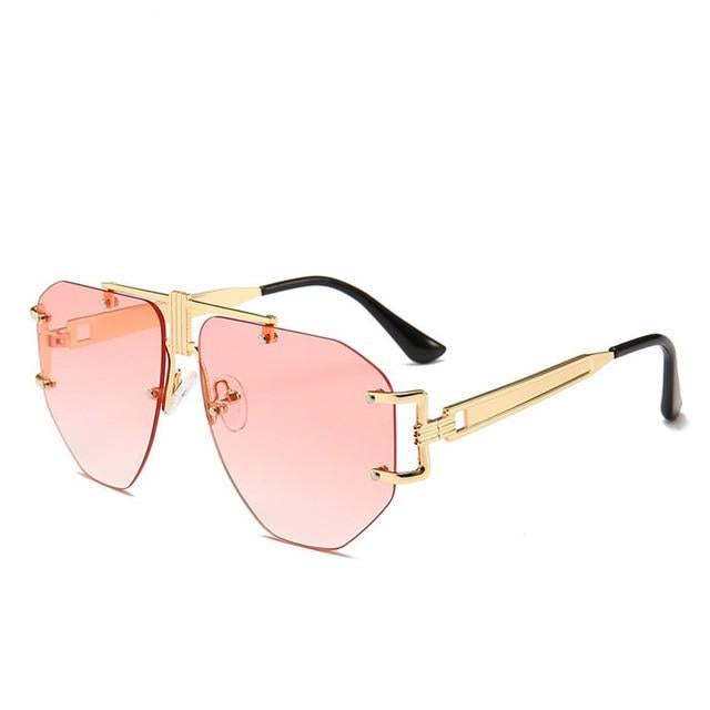 Sunglasses: rimless aviator sunglasses with brow bar detail DON JUAN
