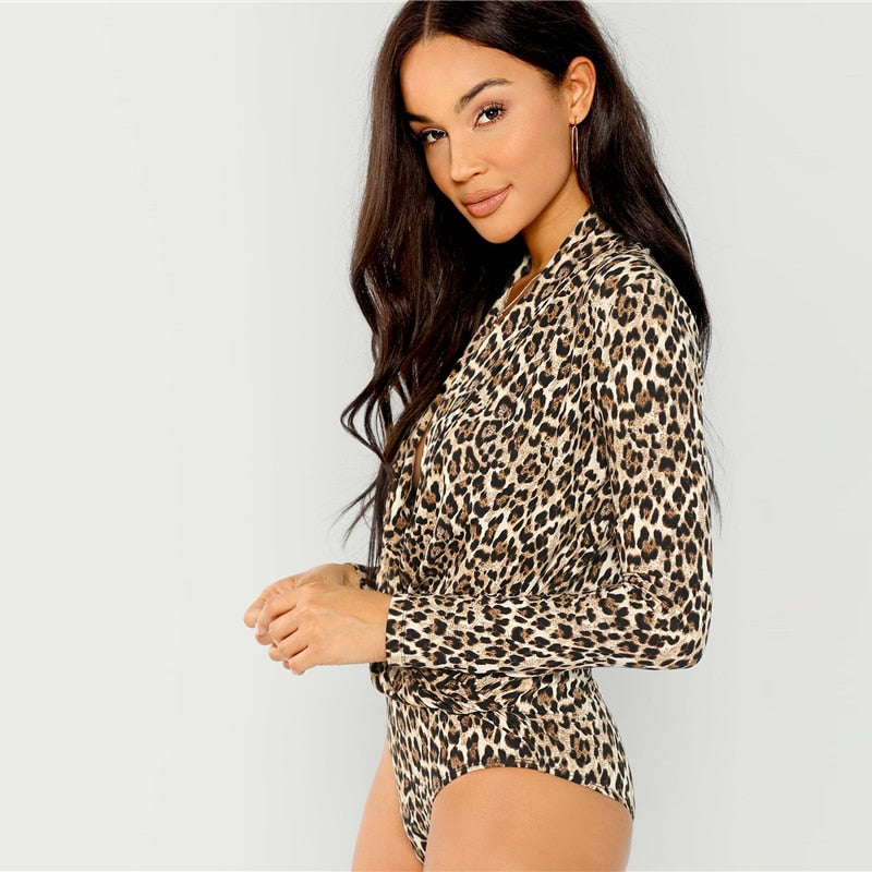 : plunge wrap bodysuit in leopard print DON JUAN