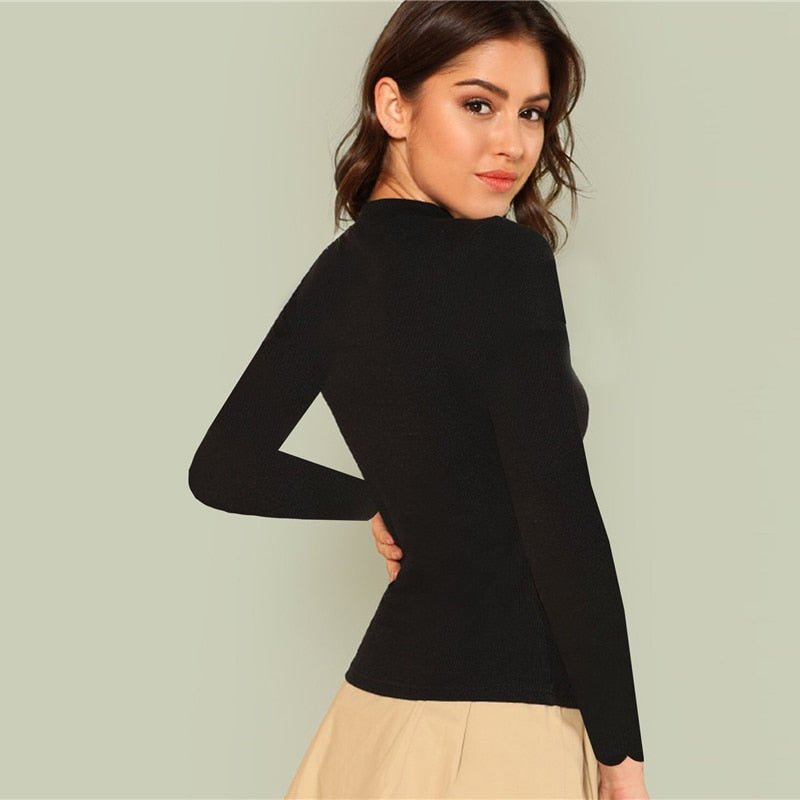 Tops:long sleeve skinny top with cut out detail in black:VENERA CLUB