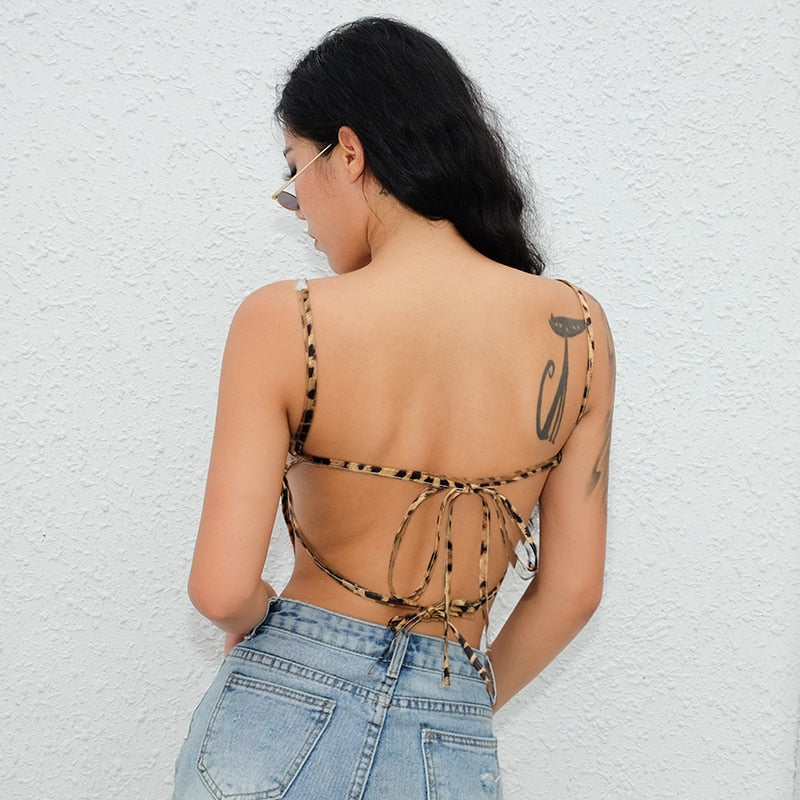 : backless cropped tank in leopard print DON JUAN
