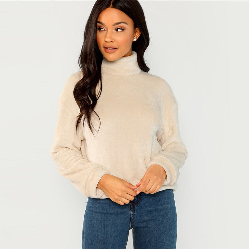 Sweatshirts: high neck faux fur sweater with zip back in beige DON JUAN