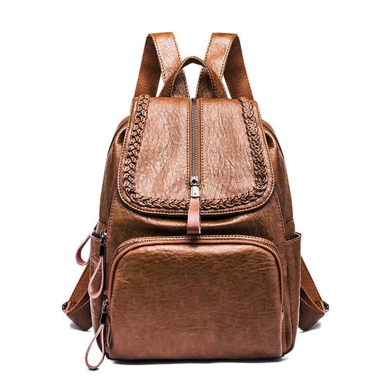 W Bags:solid backpack with zip detail:VENERA CLUB