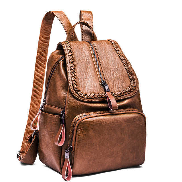 solid backpack with zip detail