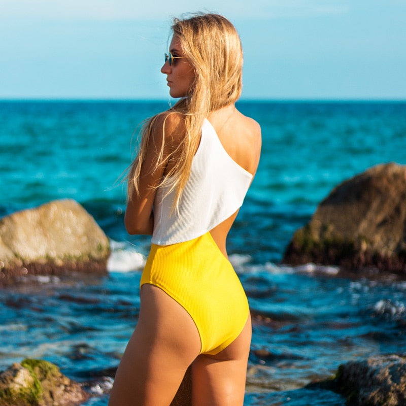 one shoulder swimsuit in yellow and white color block-Bikini-VENERA CLUB
