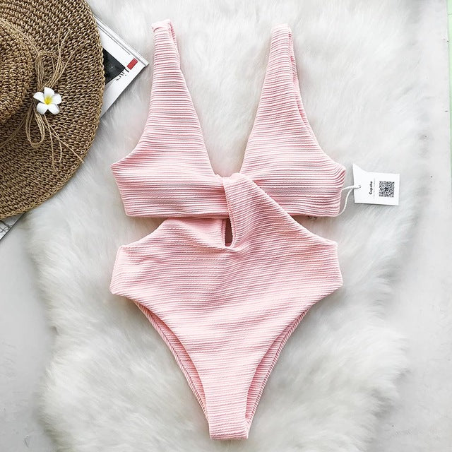 knot front swimsuit in pink