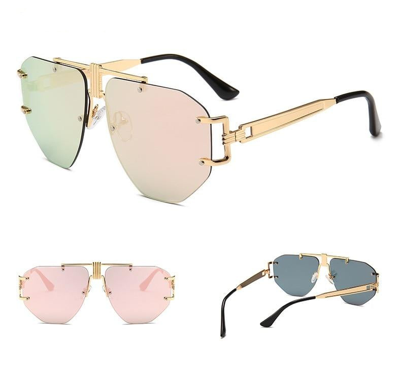 rimless aviator sunglasses with brow bar detail