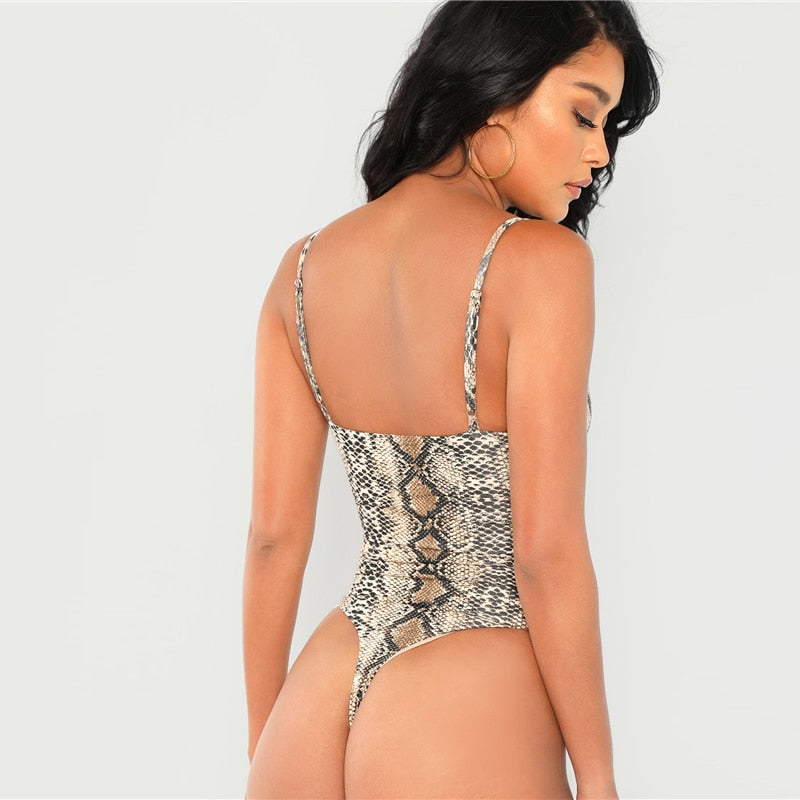 : thong cami bodysuit in snake print DON JUAN