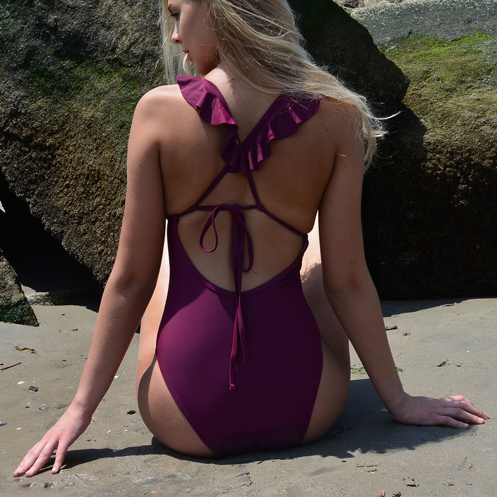 ruffle trim plunge swimsuit