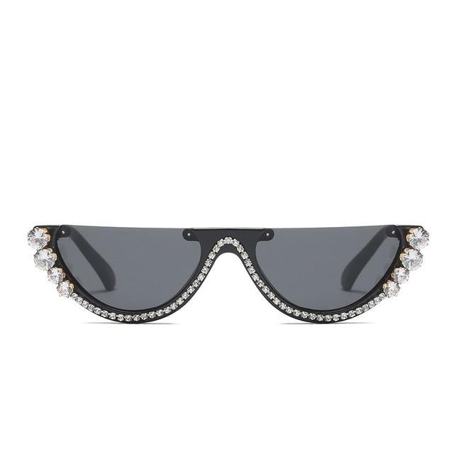 half frame sunglasses with rhinestone details