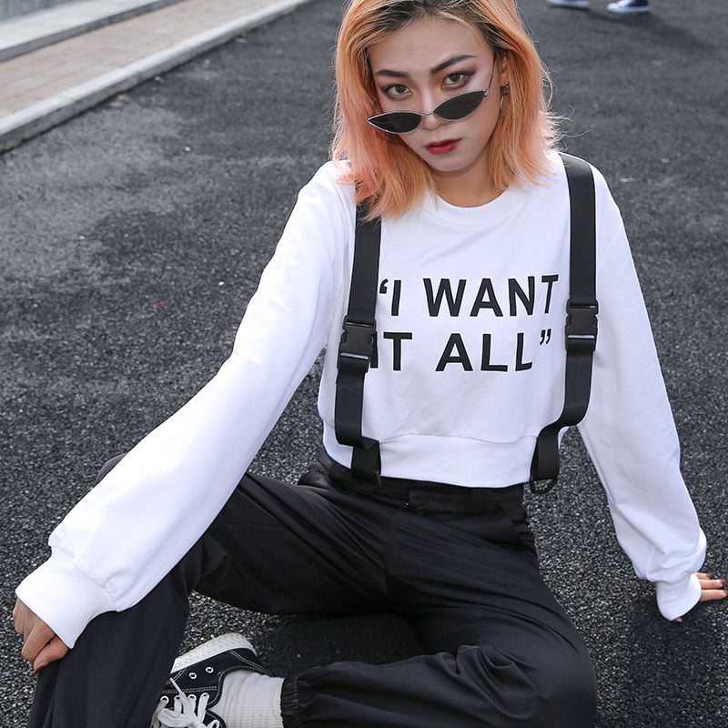Sweatshirts: I WANT IT ALL cropped sweat DON JUAN