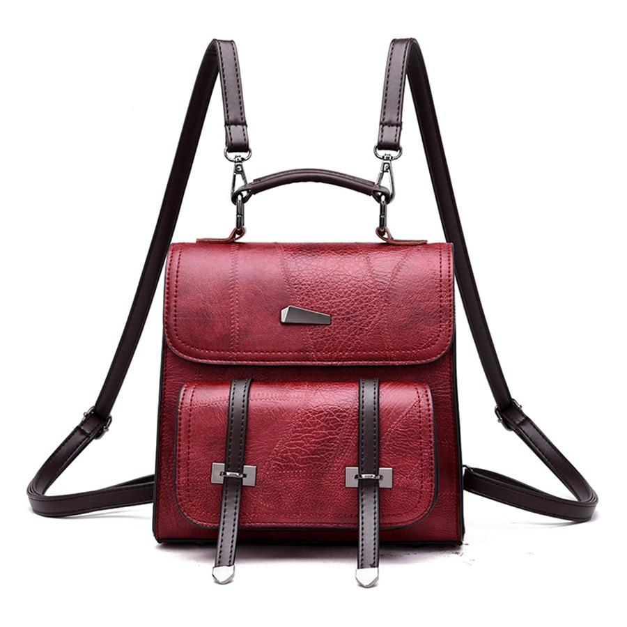 square backpack with double straps pocket