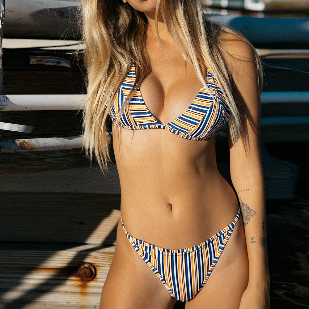 triangle stripe bikini set