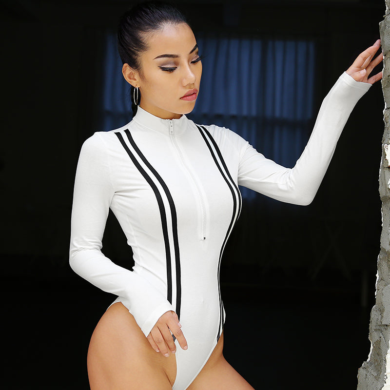 : long sleeve bodysuit with half zip DON JUAN