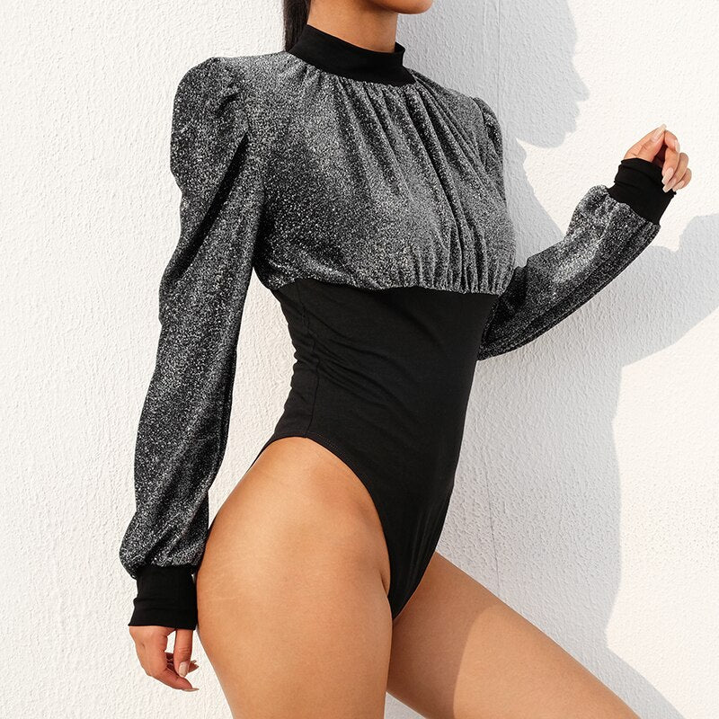 : puff sleeve ruched body in black glitter DON JUAN