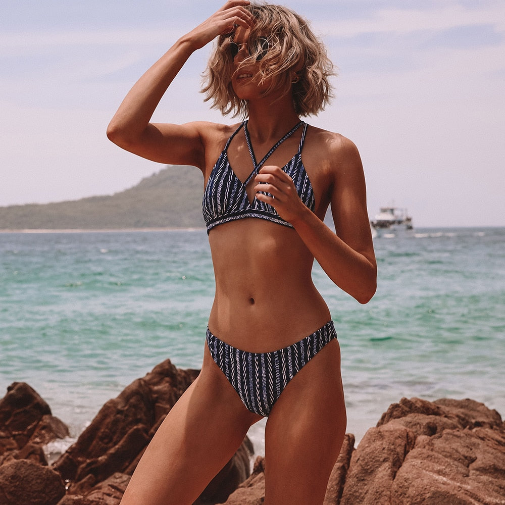 strappy triangle bikini set in stripe