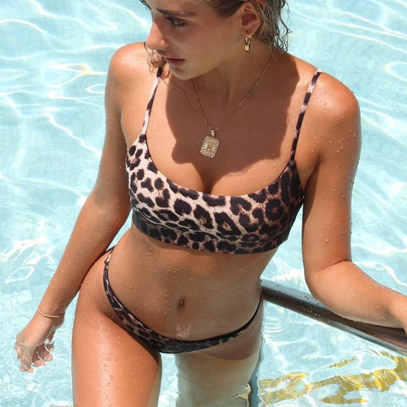 bandeau bikini top & high leg bottom set in leopard print-Bikini-VENERA CLUB