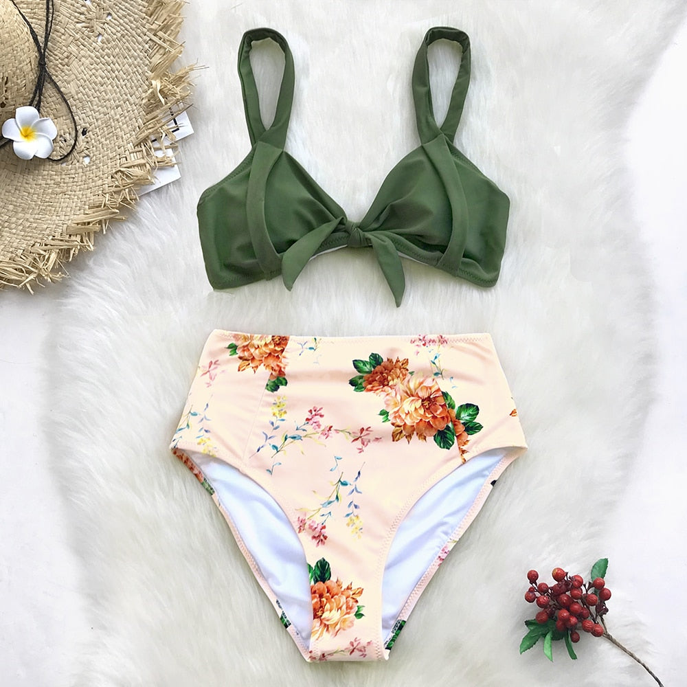 bow front green bikini top and bottom in floral print