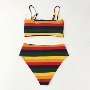 reversible bikini set in stripe