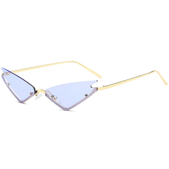 rimless triangle cat eye sunglasses
