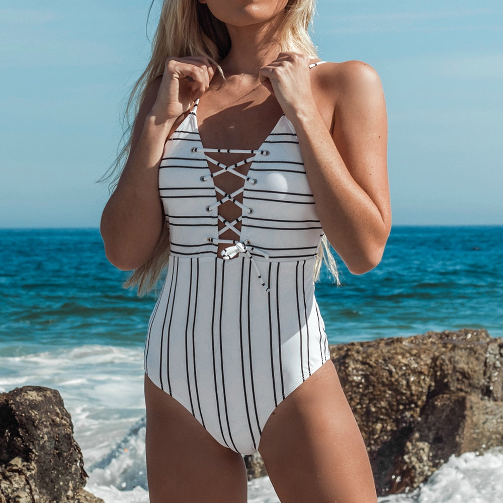 lace-up plunge swimsuit in stripe-Bikini-VENERA CLUB