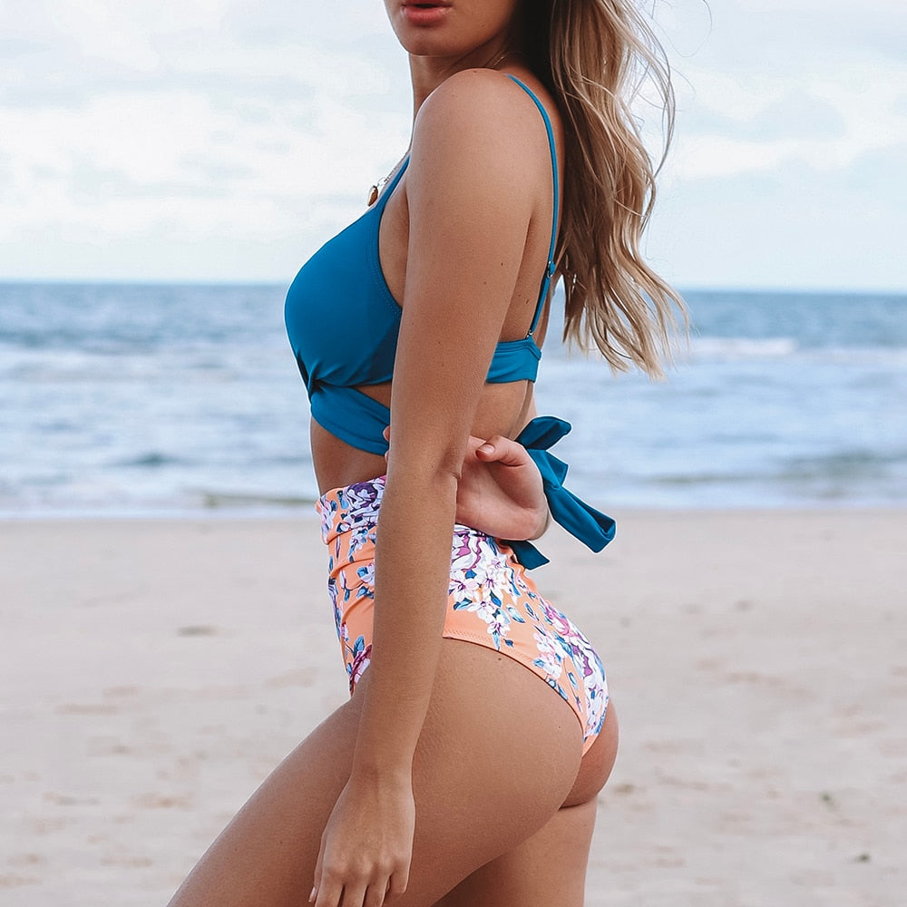 blue wrap bikini top and high-waist bottom in floral print