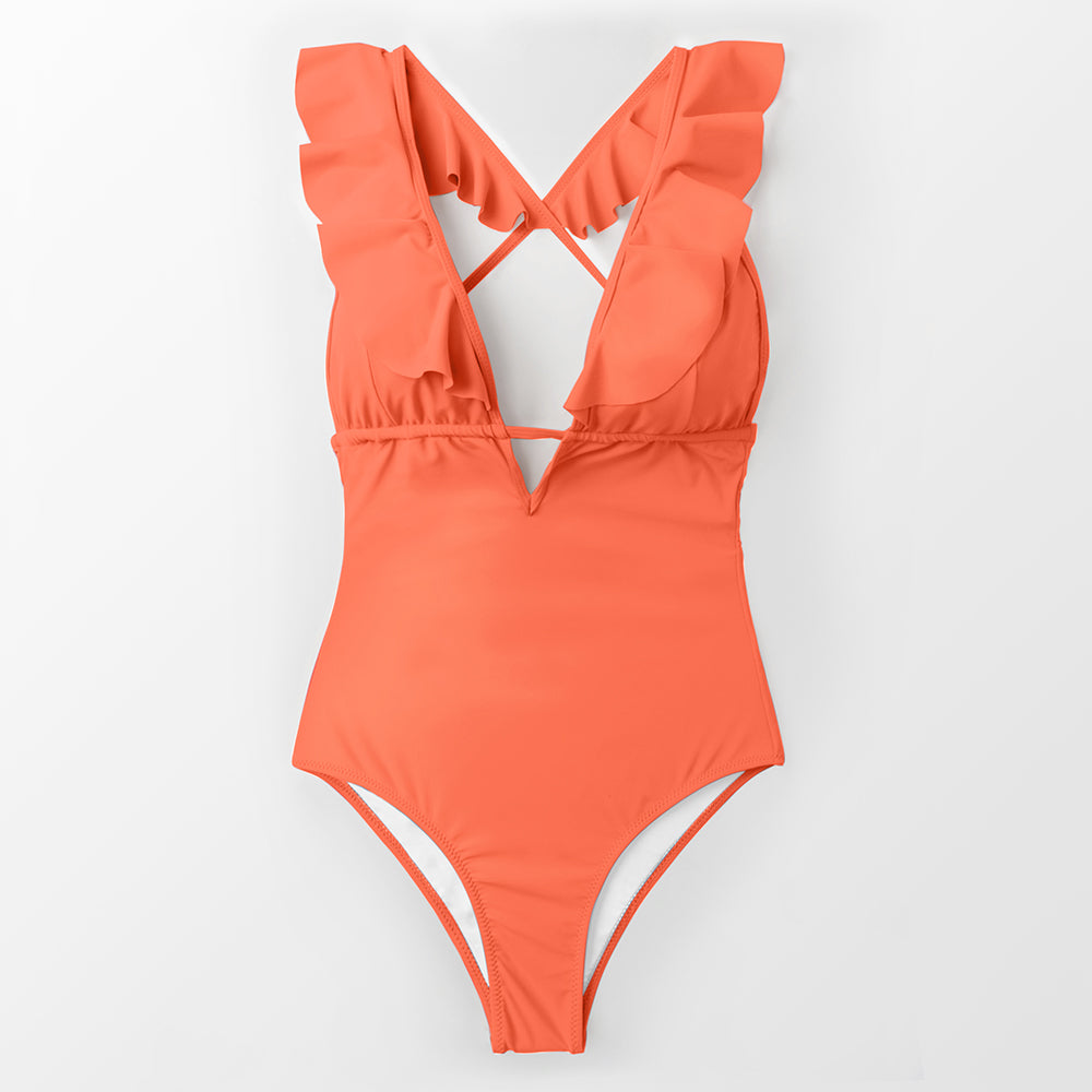 ruffle trim plunge swimsuit-Bikini-VENERA CLUB