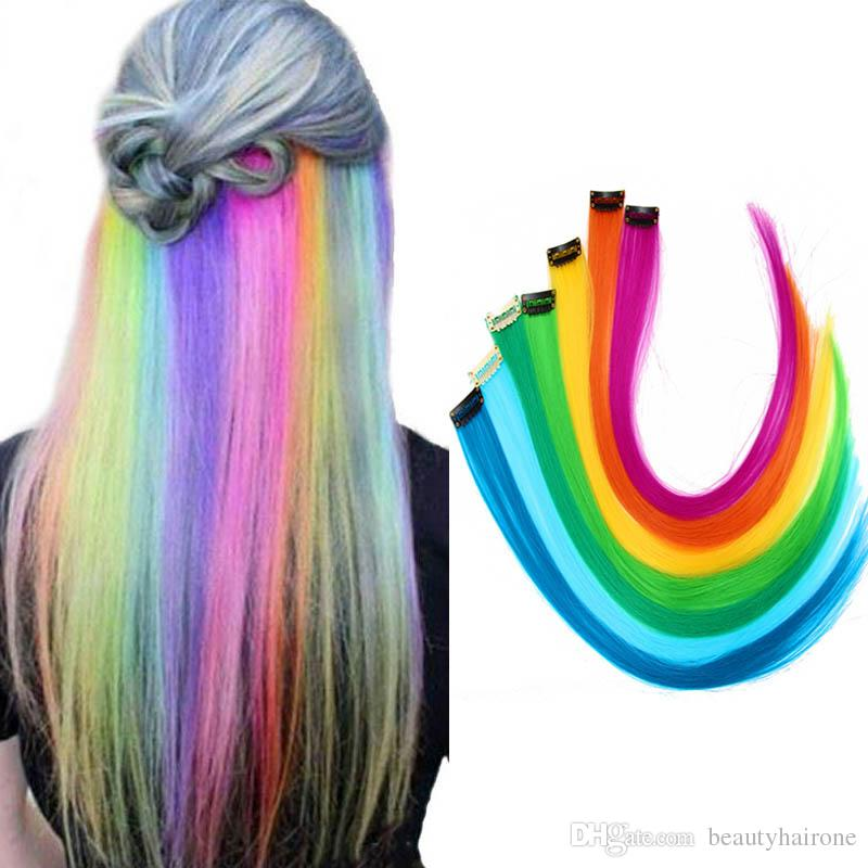 Hair extensions: colored highlight synthetic hair clip-in extensions DON JUAN