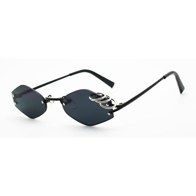 rimless sunglasses with ring detail - black - Sunglasses