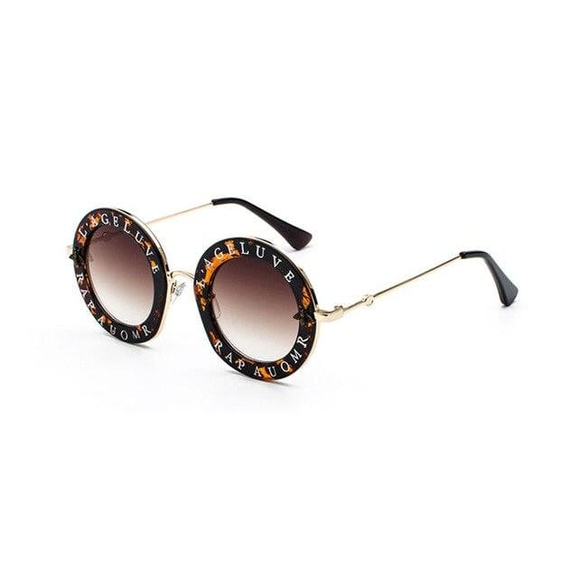 round sunglasses with little bee detail and text print - leopard tea - Sunglasses