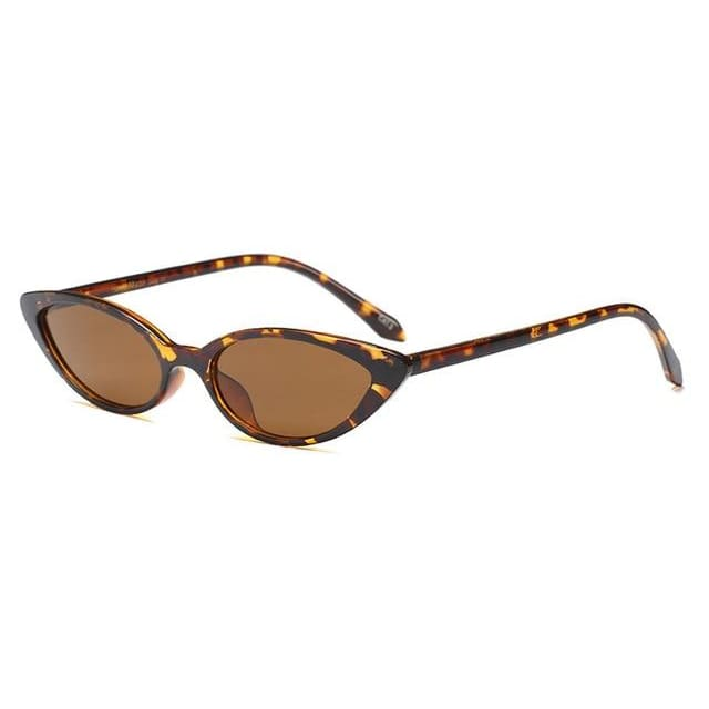 slim cat eye sunglasses in 7 colors - leopard - Sunglasses