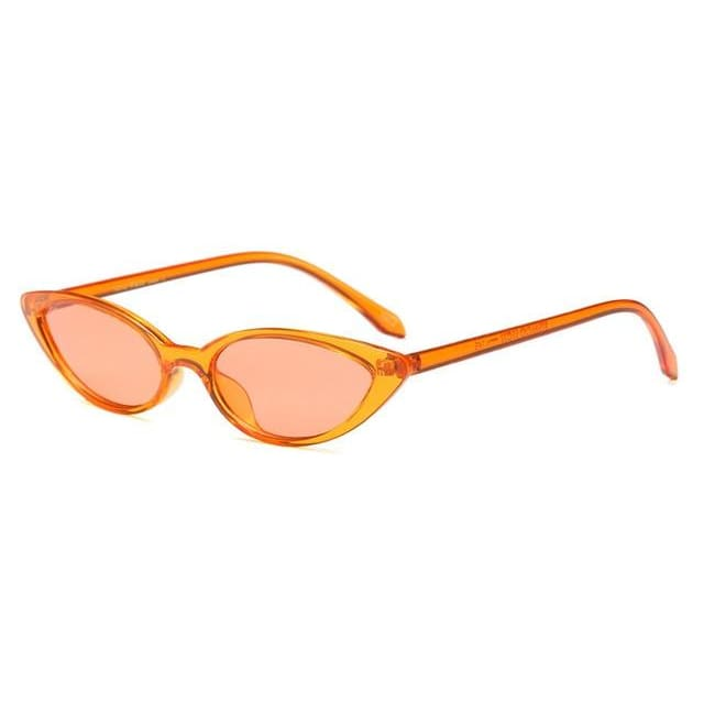 slim cat eye sunglasses in 7 colors - orange - Sunglasses