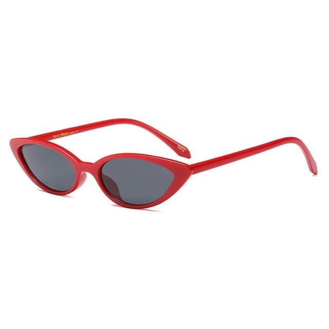 slim cat eye sunglasses in 7 colors - red black - Sunglasses