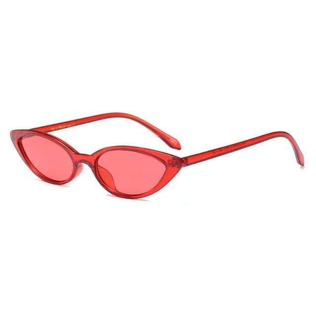 slim cat eye sunglasses in 7 colors - red - Sunglasses