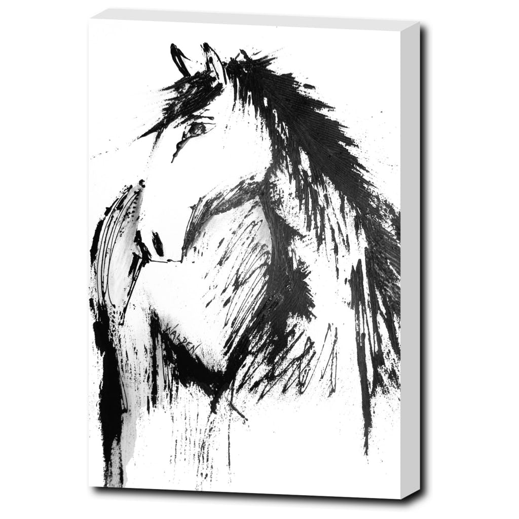 Horse sketch stretched canvas art