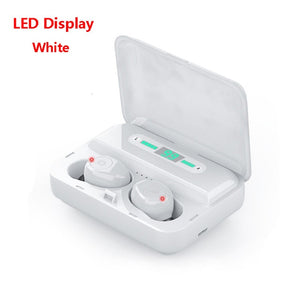 Bluetooth Earphone LED Display Wireless Headphone 9D Stereo  Earphones With 1200mAh Power Bank