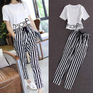 2 Piece Set Women Short Sleeves Letter Print Short Crop Top& Black White