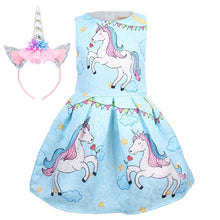 Load image into Gallery viewer, Baby Girls Unicorn Dress Flower Princess Birthday Party Dress