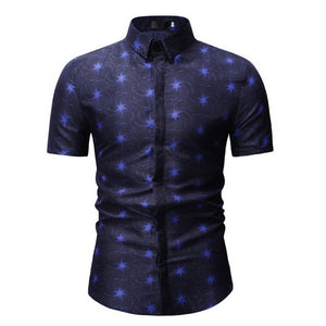 M-3XL New Summer Fashion Mens Shirt Slim Fit Short Sleeve Floral Shirt