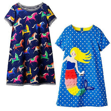 Load image into Gallery viewer, 2PCS Little Girls Summer Dress Unicorn Party Princess Dress Baby Girl