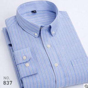 Oxford Men's Casual Long Sleeved Shirt Plaid Striped 2019 Spring