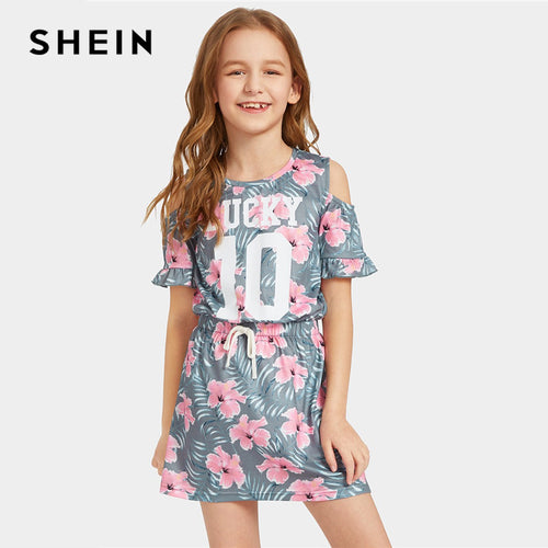 SHEIN Kiddie Floral Print Cold Shoulder Drawstring Waist Ruffle Girls Boho Dress 2019