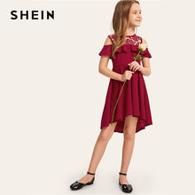 Load image into Gallery viewer, SHEIN Kiddie Guipure Lace Cold Shoulder Ruffle Hem Girls Party Dress 2019