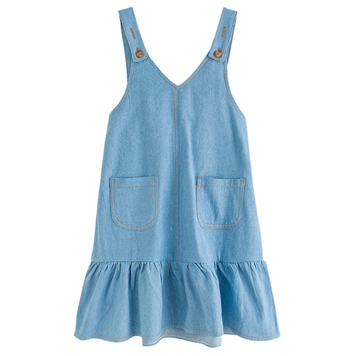 6 to 16 years kids & teenager girls summer V-neck solid jeans blue flare overall dress children fashion cotton suspender dress